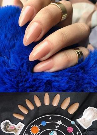Накладные ногти типсы цвета карамели форма миндаль 24 шт