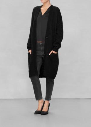 Шерстяное вязанное пальто- длинный кардиган cos оверсайз