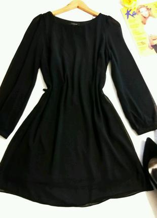 Базовое черное платье шифон 10 размер