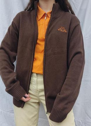 Винтажная зип кофта от kappa с оранжевым лого 😍
