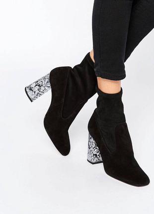 Ботинки - чулки с мраморным каблуком (замша) 37