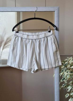 Белые летние высокие шорты из льна и вискозы в полоску на резинке 🌺