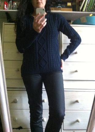 Тёплый шерстяной тёмно синий свитер 10-12 шерсть 25% с замками