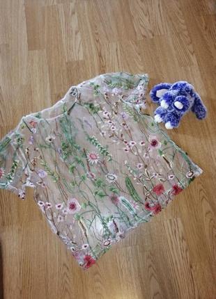 1+1=3 фуболка прозрачная с вышивкой в цветы