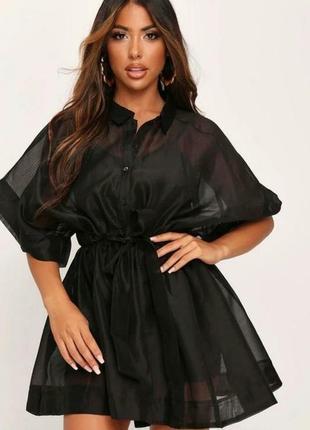 Черное платье из органзы