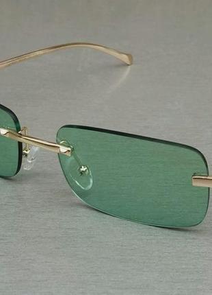Cartier очки унисекс солнцезащитные узкие модные зеленые с золотом