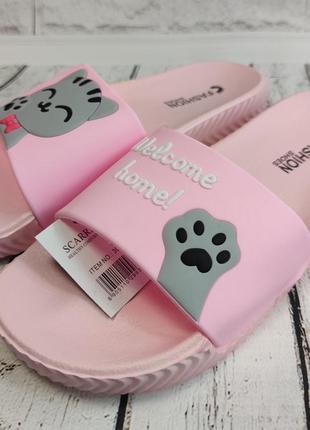 Шлепки шлепанцы летние пляжные  женские 37,39,41р. коты розовые дешман