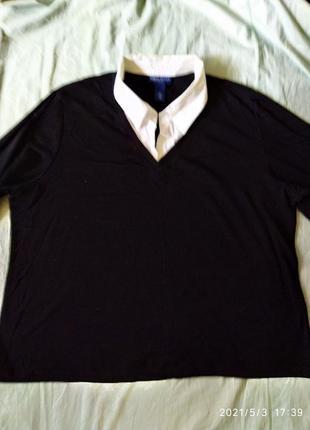 Полувер с имитацией белой рубашки