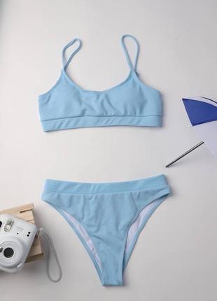 Блакитний роздільний купальник топ, плавки із завищеною талією