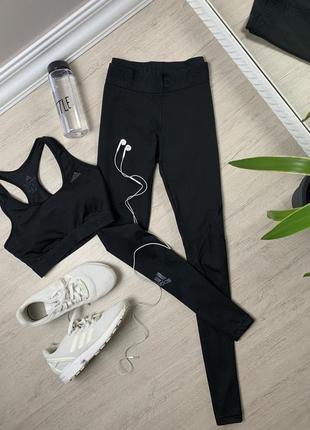 Комплект adidas адидас  женские лосины леггинсы топ топик спортивные тренировочные чёрные