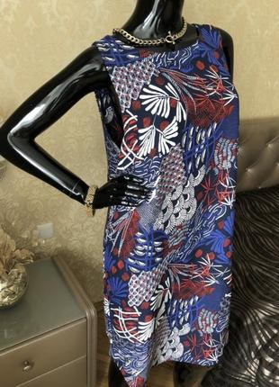 Стильное прямое платье мини синий узор принт цветы сарафан тренд шифон h&m 1+1=3