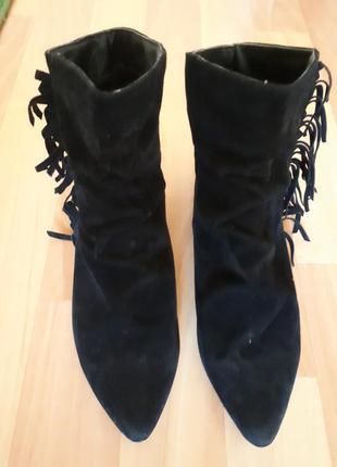 Ботиночки полусапожки замш без каблука бахрома