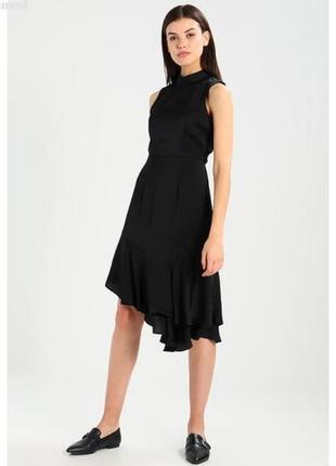 Стильное сатиновое атласное миди платье с ассиметричным низом vero moda 1+1=3