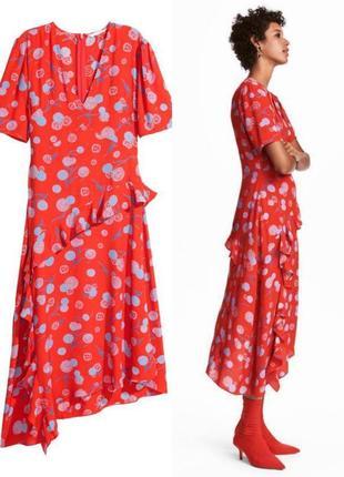 Платье с цветочным принтом и ассиметричным низом h&m 1+1=3