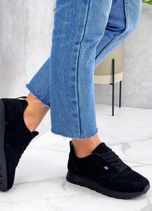 ❤крутые женские кроссовки из эко-замша чёрного цвета ❤
