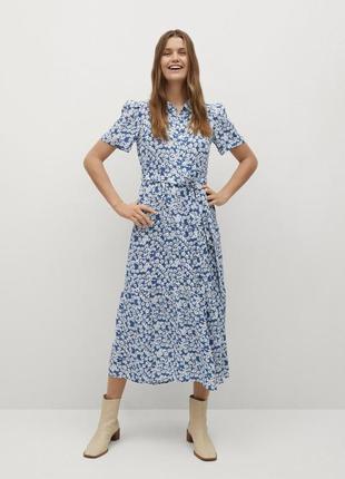 Платье миди длинное с поясом в цветочный принт mango оригинал