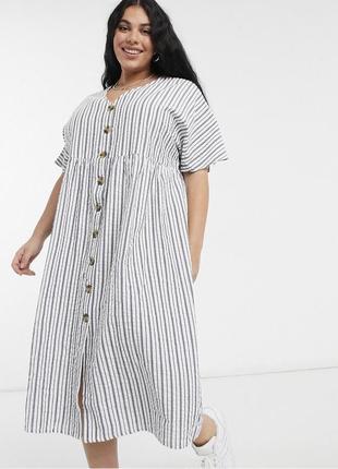 Свободное натуральное платье миди в полоску на пуговицах легкое asos батал