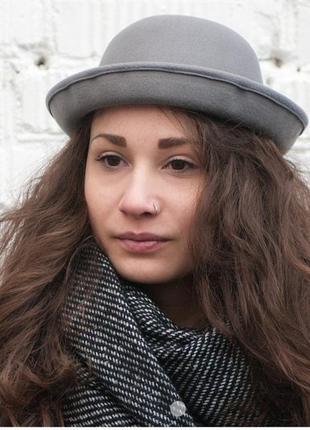 Сірий шерстяний капелюх серая шерстяная шляпа размер l 57-58 от h&m