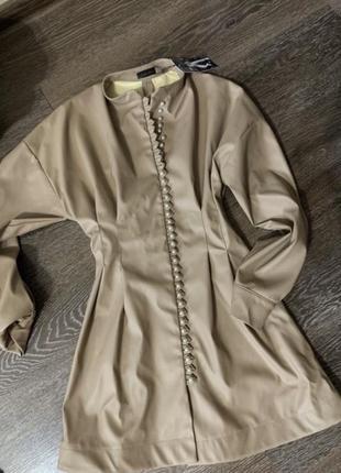 Трековое платье экокожа