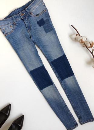 Голубые джинсы h&m с латками пэчворк патч ворк