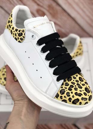 Alexander mcqueen white/leopard кожаные кроссовки/ кеды
