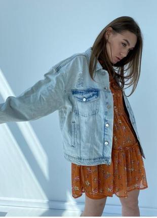 Джинсовка овеверсайз жіноча куртка новинка 20213 фото