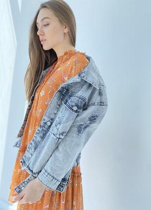 Джинсова куртка жіночий піджак оверсайз5 фото