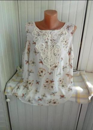 Красивая вискозная блуза с открытыми плечами большого размера батал