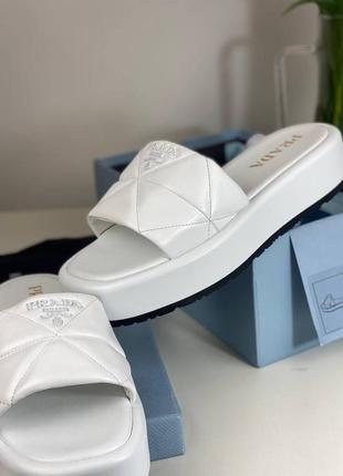Шлепанцы женские кожаные белые брендовые люкс