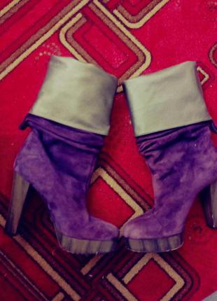 Сапоги трубы , ботильоны замшевые фиолетовые италия