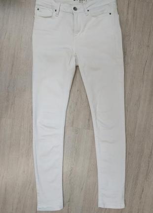 Белоснежные джинсы скини женские высокая посадка colin's