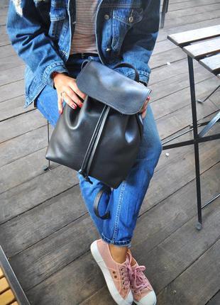 Стильный рюкзак из натуральной кожи, кожаный рюкзак, черный рюкзак, городской рюкзак