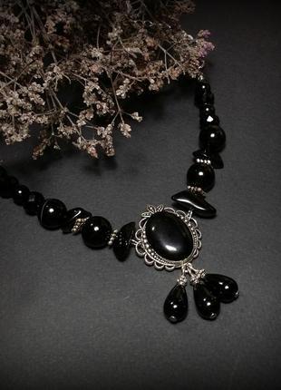 Звоночки тьмы черный браслет с кулонами