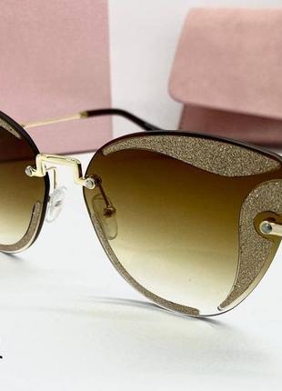 Miu miu  очки женские солнцезащитные коричневые бабочки з золотистым глитером