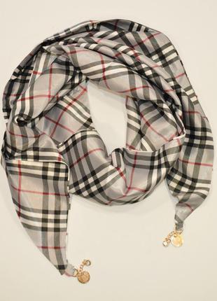 Стильный платок, косынка серая, атлас