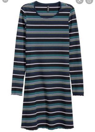 Платье мини из рельефного трикотажа в полоску