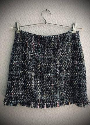 Шерстяная юбка твид в стиле шанель