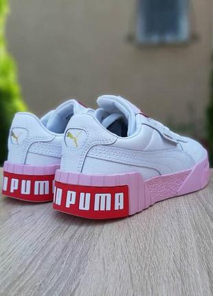 Кроссовки puma cali белые с розовым😍