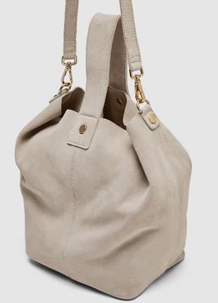 Кожаная сумка zara suede leather shoulder bag. оригинал.