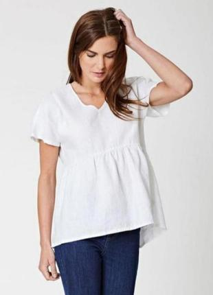 Льняная белая блуза