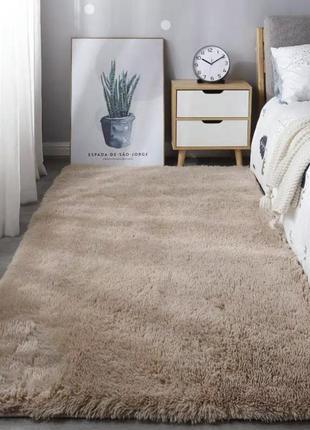 Мягкий пушистый коврик с высоким ворсом  пудра