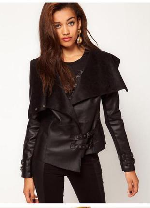 Куртка/дубленка кардиган с кожаными вставками