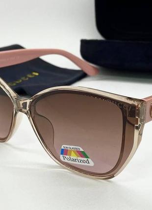 Gucci очки женские солнцезащитные поляризованые бежевые кошечки с розовыми дужками