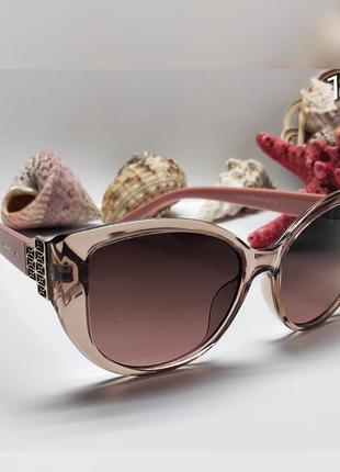 Жіночі окуляри сонцезахисні дужки пудра