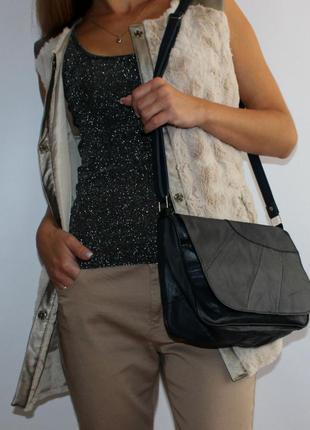 Супер сумочка на длинной ручке, для тетрадей, повседневная, кожаная