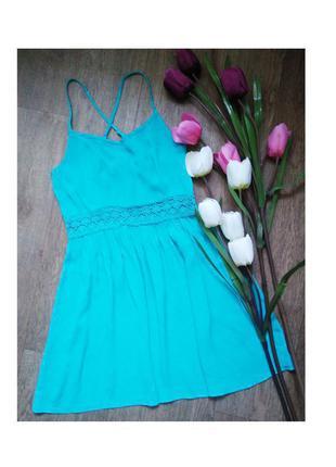 Красивое бирюзовое платье на тонких бретельках, размер s-m