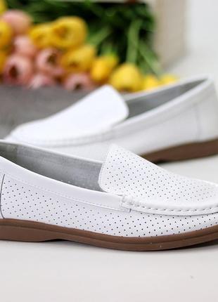 Белые женские мокасины туфли тапочки кожаные сквозная перфорация