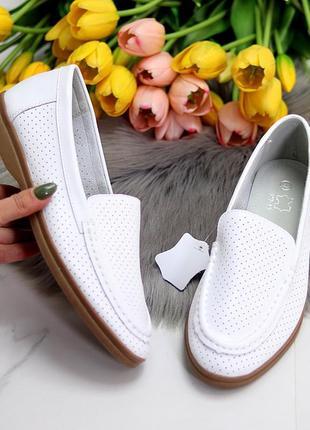 Белые женские мокасины лоферы туфли тапочки кожаные сквозная перфорация4 фото