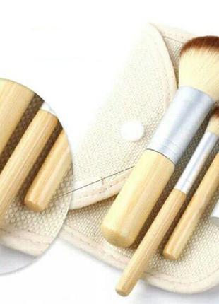4 бамбуковые кисточки в льняном чехле