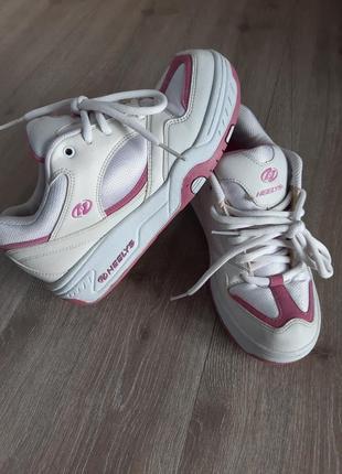 Роликовые кроссовки  белые размер 38-39